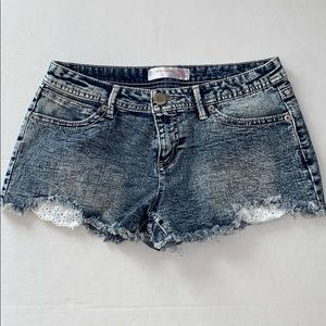 NoBo dark wash jean shorts with lace detail size 9